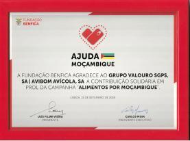 Grupo Valouro recebe reconhecimento da Fundação Benfica por contribuição solidária